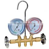 2-valve brass manifolds with 1/4 sae fittings brass manifold (PR1001B)