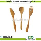 Newest design high quality solid kitchen bamboo utensil set bamboo spoon wooden 3pcs bamboo utensils set with holder spoon