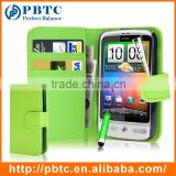 Set Screen Protector Stylus And Case For HTC Desire C , Green Leather Wallet Waterproof Case For HTC Desire