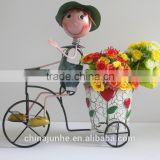 New Bicycle Design Metal Doll with Flower Pot for Decoration