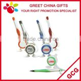 Promotional Table Ball Point Pen with Double Feet Stick on Desk Holder and String for Bank and Office