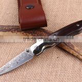 High quality ebony handle Damascus pocket folding knife collection knife with leather pouch