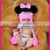 newborn baby girl lovely mickey mouse winter cotton crochet hat                                                                         Quality Choice