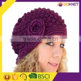Purple color top quality 7GG women winter hand free knitted beanie hat