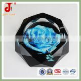 Octagonal Painted Crystal Glass Ashtray for Cigarettes