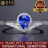 18K Gold Inlay Natural Sri Lanka sapphire ring Female drop shape wholesale