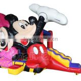 Mickey Mouse Inflatable Bounce House, Mickey & Minnie Inflatable Jumping Castle with Slide
