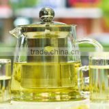 5in1 Tea Set -16.9 fl.oz 500ml Heat-Resisting Glass Tea Pot w/ stainless steel infuser/ insert + 4* Cups