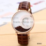Elegant Women Quicksand Faux Leather Band Bracelet Round Dial Analog Wrist Watch