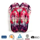 2016 wholesale personalized logo printed design multicolor cheap ladies custom wedge pvc flip flops