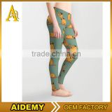 High quality Custom made shiny fabric sublimation printed womens sports fitness leggings