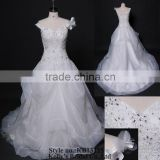 latest deisgns fashionable off shoulder lace bodice organza tiered wedding dress