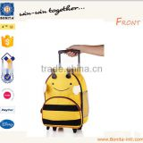 Wholesale cartoon bee child school bag trolley with wheels bright
