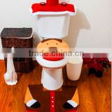 xmas decorations New Design for 2016 Christmas Decorations Happy Santa Toilet Seat Cover & Rug Bathroom Set Reindeer