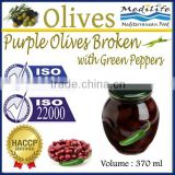High Quality 100% Tunisian Table Olives,Purple Olives Broken with Green Peppers, Purple Olives 370 ml Glass Jar