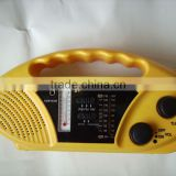 solar dynamo radio with LED torch and cell phone charger and thermometer