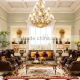 Classic Genuine Leather Button Tufted Chesterfield Sofa Set, Vintage Living Room 3+1+1+1+1 seat Sofa With Hand Painted