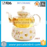 Beautiful Ceramic Glass Fruit Tea Teapot with Warmer