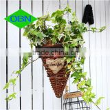 Hot sale wicker decor wholesale rattan flower basket hanging basket