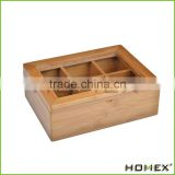 Collections Tea Storage Box with 6 Adjustable Compartments and Acrylic Lid/Homex_Factory