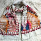 latest style fashion indian fellow printed cotton frayed ladies fashion scarf