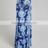 Fashionable Maternity Flower Skirt With Blue Damask Maternity Maxi Skirt Fashion Women Clothes WD80817-2