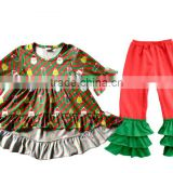 High Quality Christmas Party Baby Girls Long Sleeve Boutique Outfits In Stock Cheap baby girl Set 2pcs Dress Clothes Store