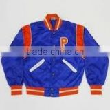 2015 Top satin varsity jacket/design of satin jackets