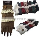 Retron lace trim arm warmer knit button arm warmers crochet arm warmers 7 colors