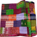 handmade King Antique Indian Quilt -Twin Vintage Patola Silk Sari Kantha Quilt Patchwork Throws silk kantha quilted ethnic decor