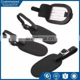 High quality black leather luggage tag with insert