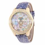 Yiwu factory cheap owl rhinestone watch women wrist watch