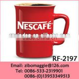 Square Shape Colored Nescafe Designed Ceramic Promotional Coffee Mugs Wholesale