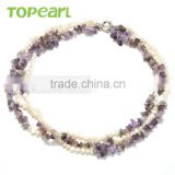 Topearl Pearl Necklace for Wholesale Jewelry Natural White Nugget Freshwater Cultured Pearl Amethyst Necklace NJ272464