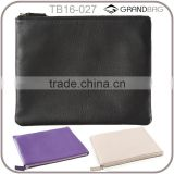 Hot selling costomized traveling leather clutch pouch for ipad mini, zipper leather organizer pouch