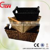 Set of 3 water hyacinth basket with wooden handle,china supplier