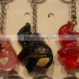Elephant amber key chain with sea shell inset,Promotional rosin key chain,amber keychain pendant