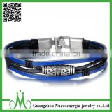 Women Men's Alloy Genuine Leather Bracelet Cuff Wristband Bangle Black Blue Silver Vintage Biker