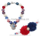 Cute Mouse alloy pendant Chunky bubblegum acrylic necklace patriotic hairband set Yiwu factory sale