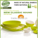 green food safety natural bamboo fibre biodegradable tableware dishes plate bowl, dinner set