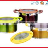 coating outside cover with silicone and glass lid cooking pot (XM-6019)