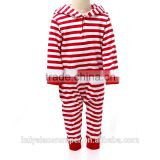 hot sale China cheap baby strips hooded romper Christmas wholesale children's boutique clothing