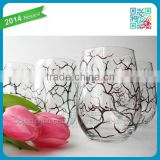 High quality Pink Cherry Blossom fashion style Wine Glass Set of 2 Hand Painted wine cup glass stemless