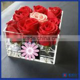 2016 Hot Sale!! China Manufactuer Flower Box Hold 9 Roses Acrylic Box for Fresh Roses