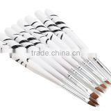 8pcs Professinal Handle White Zebra Pattern Nail Art Pen Brushes Painting Decoration Tools Set
