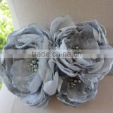 Silver Grey Fabric Flower Belt Ribbon Sash For Wedding,Special Occasion Flower Sash For Evening Dress
