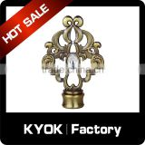 KYOK simple design roman flower shape wood curtain rod finials,iron zinc curtain poles curtain accessories