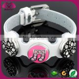 2015 fashion custom metal snap jewelry,white snap button bracelet