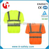 custom design fluorescence orange yellow high visibility cheap safety reflective uniform t-shirt