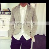 Men grey linen blazer jacket korean style slim fit for small men                                                                         Quality Choice